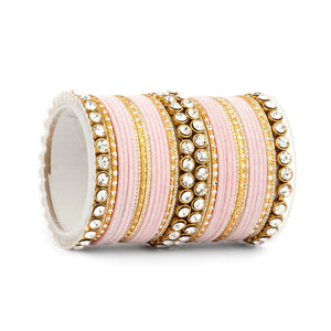 Traditional Velvet Bangle Set by Leshya with Stone Kadas for Women  (Plus Size)