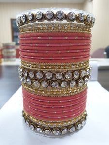 Traditional Velvet Bangle Set by Leshya with Stone Kadas for Women