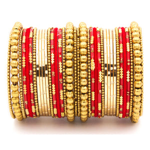 Traditional bangle set for two hands with velvet and meenakari bangles by Leshya