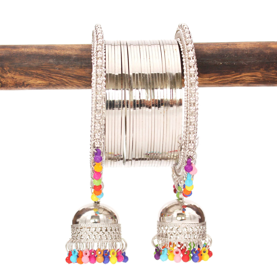 Traditional Shining Silver Jhumki Set