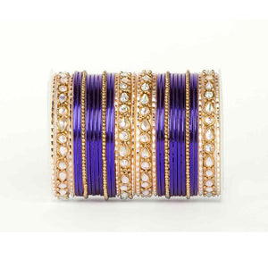 Kundan Gold Plating Bangle Set (Plus Size)