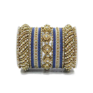 Traditional Colored Textured Bangle Set For Single Hand