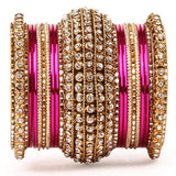 Set of 2 Colored Chakri Shining Bangle Set
