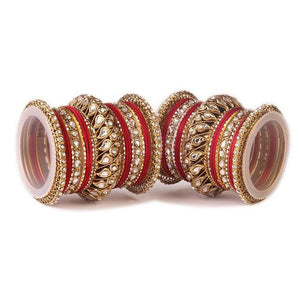 Set of 2 Kundan Bangle Set With Chakri Kada
