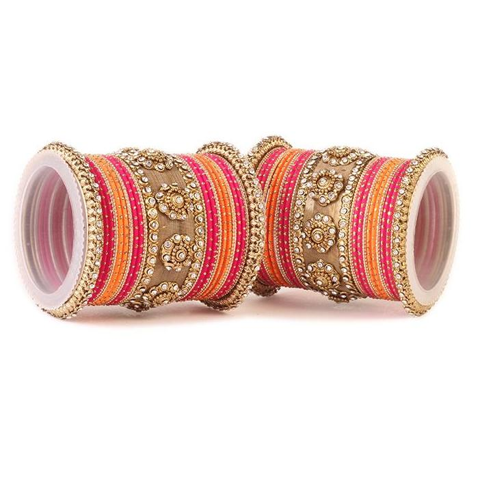 Traditional Jaali Work Multi-Colored Bangle Set