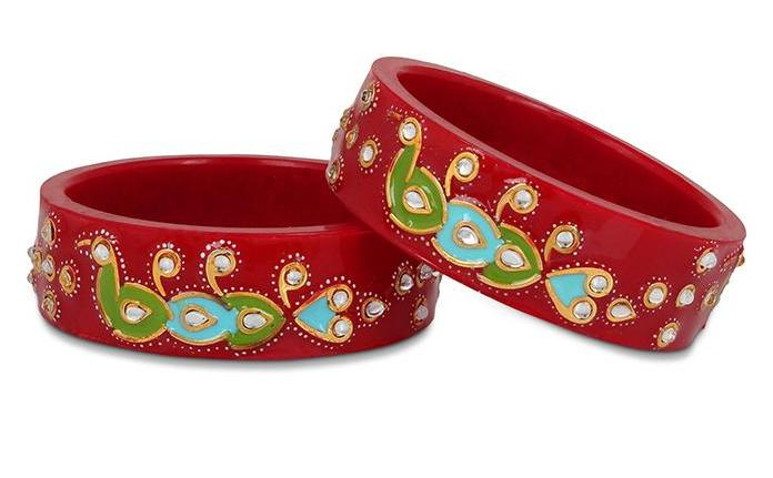 Rajasthani Style Meenakari Bracelets With Handmade Peacock And Running Kundan Work