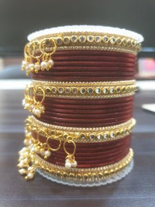 Cutomized Metal Bangle set with Jhumki for Both Hands by Leshya