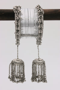 Traditional Silver Ghungroo with Shining Silver Bangles by Leshya