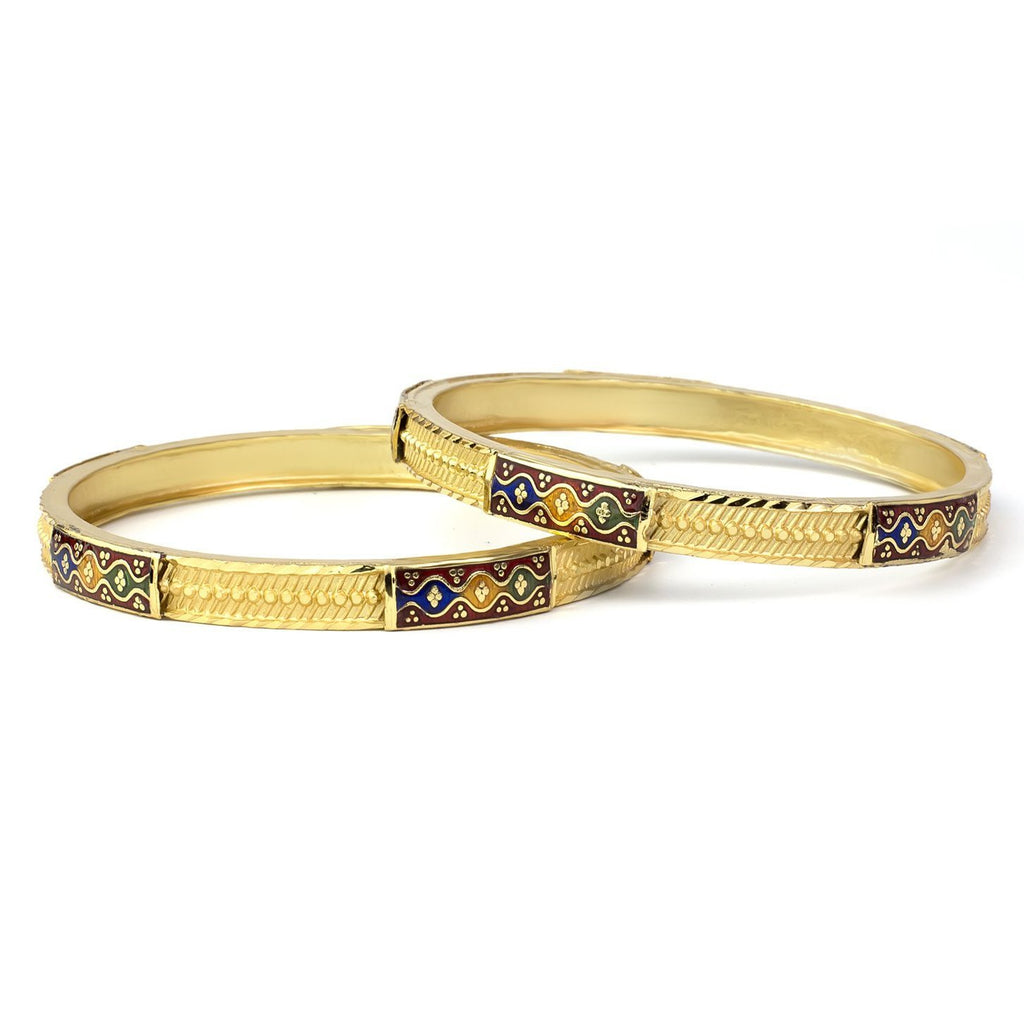 Set of 2 Gold Plated Bracelets with hand-painted enamel-work for Daily use
