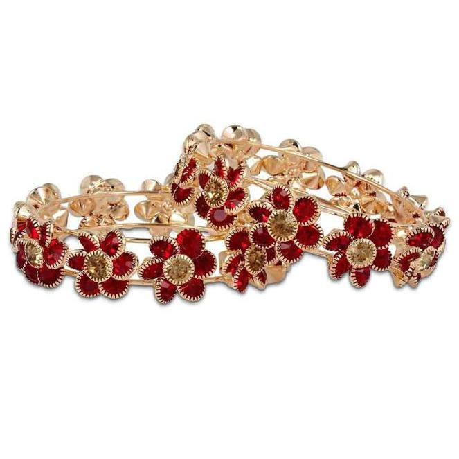 Gold Plated Bracelet With Red Flower Stone