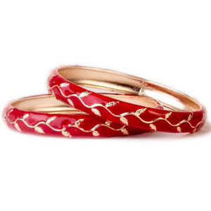 Beautiful Flower Pattern Meenakari Bracelet (2pcs)
