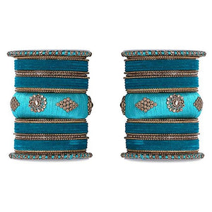 Royal Set of 2 Velvet And Silk Thread Bangle Set