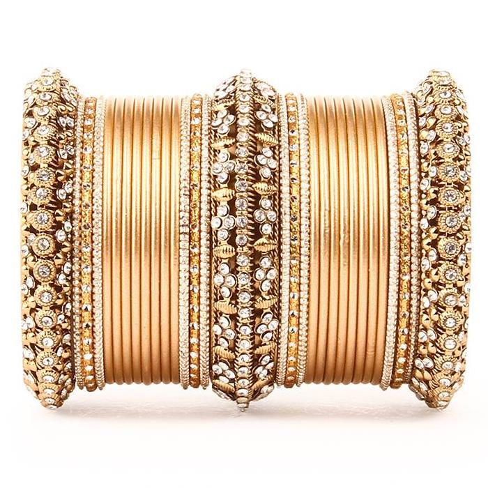 Set of 2 Bridal Matte Textured Bangle Set