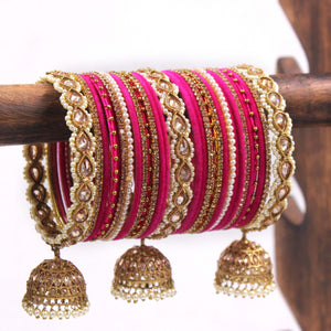 Bridal Tri-Jhumki Bangle Set with Velvet Bangles by Leshya