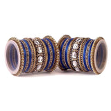 Set of 2 Beautiful Colored Bangle Set With Big Kundan Stone