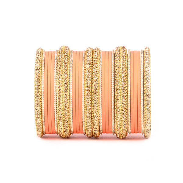 Golden Bracelet And Matte Finish Bangle Set For Women