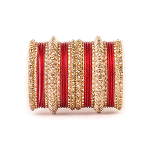 Traditional Colored Kundan Work Bangle Set For Two Hands