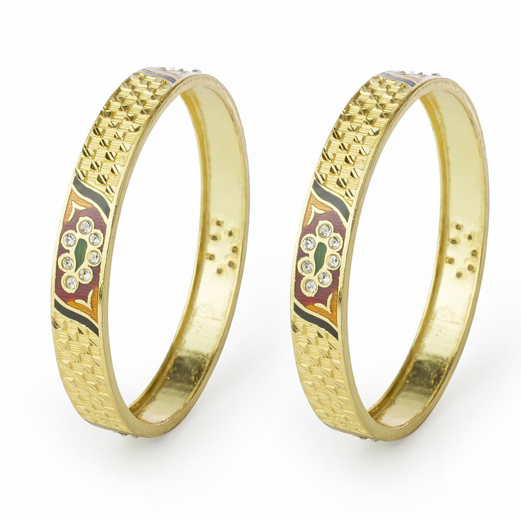 Set of 2 Gold Plated Bracelets with hand-painted enamel-work pattern for Daily use