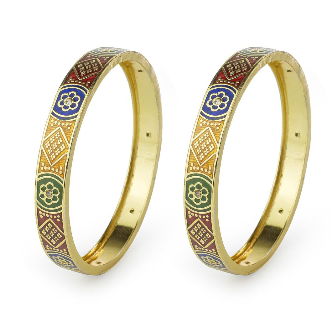 Set of 2 Intricately Designed Golden Work Bracelets for Daily Use