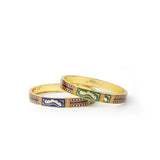 Set of 2 Meenakari Bracelets with intricate Goldwork for Daily Use