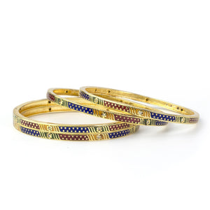 Set of 4 Daily Use Meenakari Bracelets with Running Golden Dotted Patterns