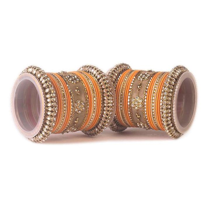 Set of 2 Traditional Matte Finish Kundan Bangle Set