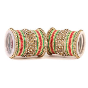 Set of 2 Traditional Jaali Work Multi-Colored Bangle Set