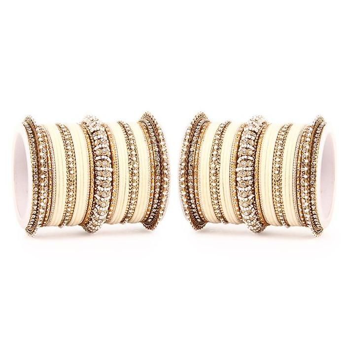 Set of 2 Beautiful Velvet Bangle And Pearl Bangle Set