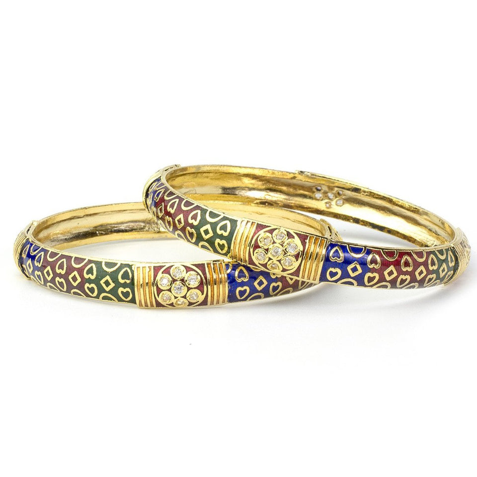 Set of 2 Daily Use Hand-Painted Meenakari Bracelet with Heart Shape Design in Golden
