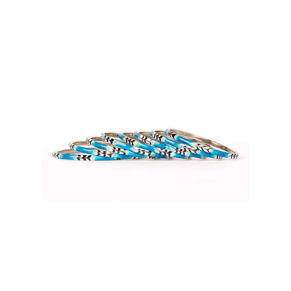 Eight Pieces Of Meenakari Bracelet With Colored Pattern Painted By Hand