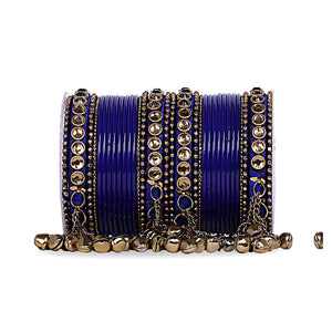 Traditional Ghungroo Bells Bangle With Silk Thread And Stone