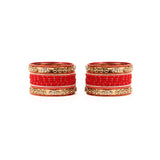 Traditional Bangle Set With Golden Dotted Bangles