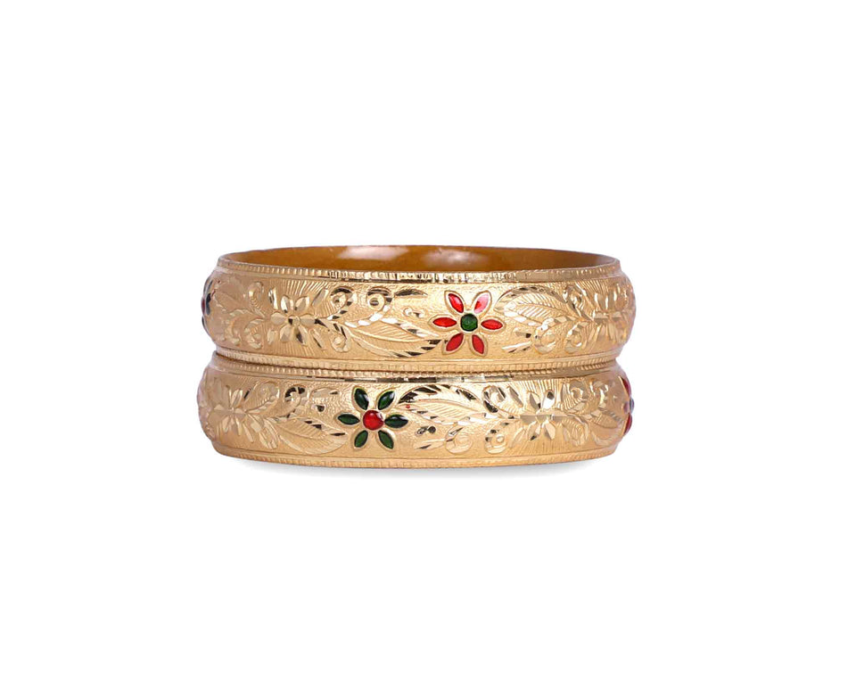 Broad Look-Like Gold Dyed Bracelet Pair With Meenakari Work