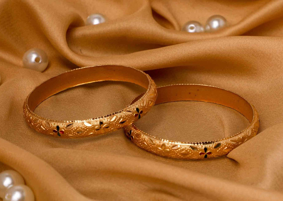 Set Of 2 Gold Dyed Bracelets With Etching Design