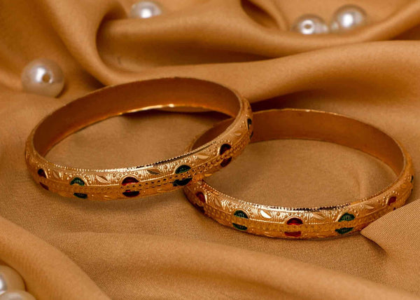 Set of 2 Gold Dyed Bracelets With Red And Green Meenakari Work
