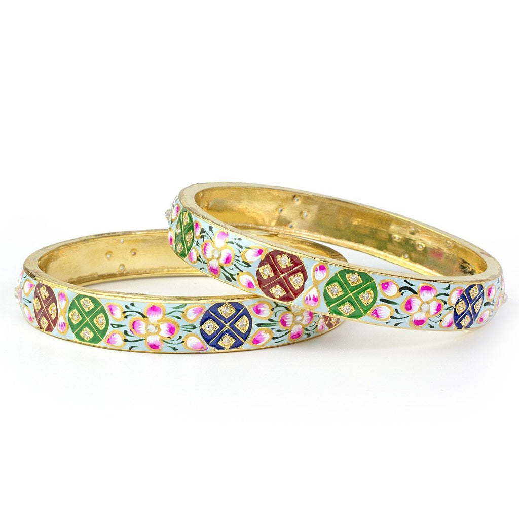 Set of 2 Hand-painted enamel Bracelets for Daily Use by Leshya