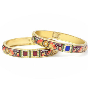 Set of 2 Traditional Hand-painted Meenakari Bracelets for Daily Use by Leshya