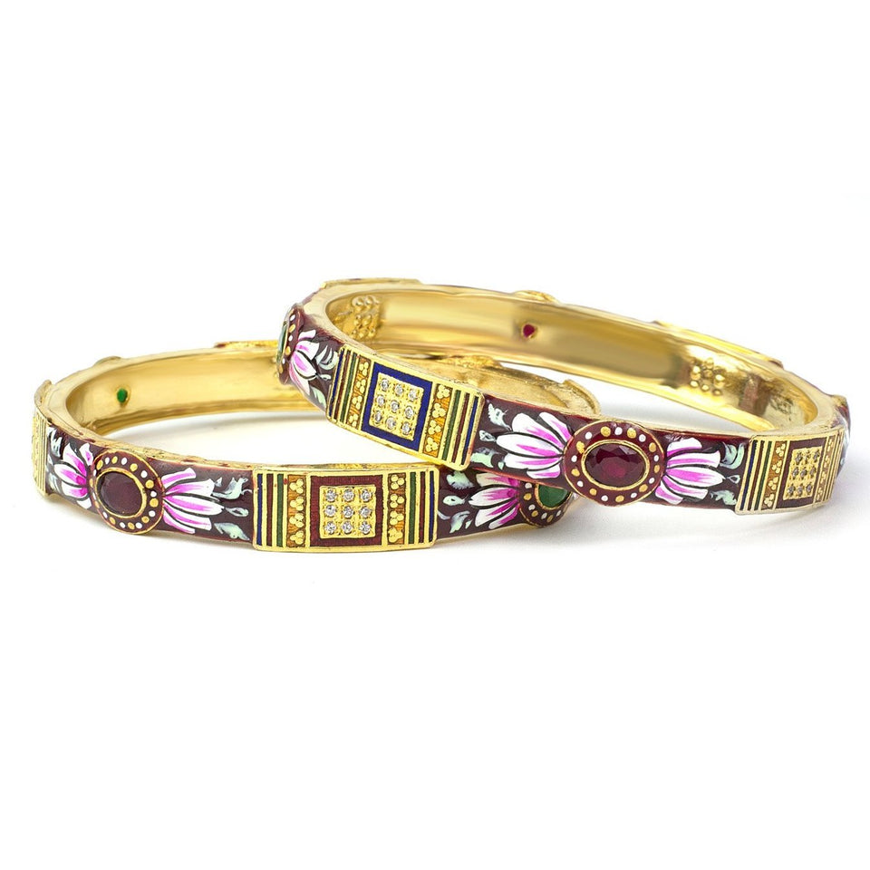Set of 2 Traditional Hand-painted Meenakari Bracelets with Ruby-like stone for Daily Use
