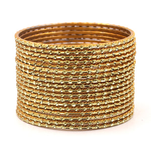 Set of 24 Shining Metal Bangles with self-dot Design by Leshya