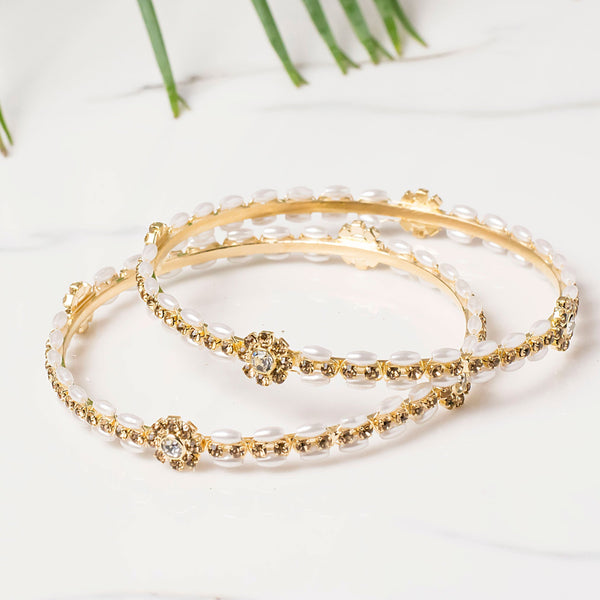Set of 2 Pearl Bracelets with golden flower for Everyday Wear