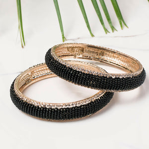 Set of 2 Fancy Beaded Bracelets with Border Stonework