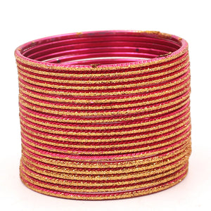Set of 24 Shining Bangles with Golden Glitter Layering by Leshya