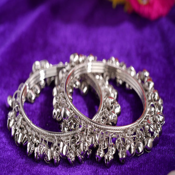 Set of 2 Beautiful Bridal Ghungroo Bangles with Small Bells Silver