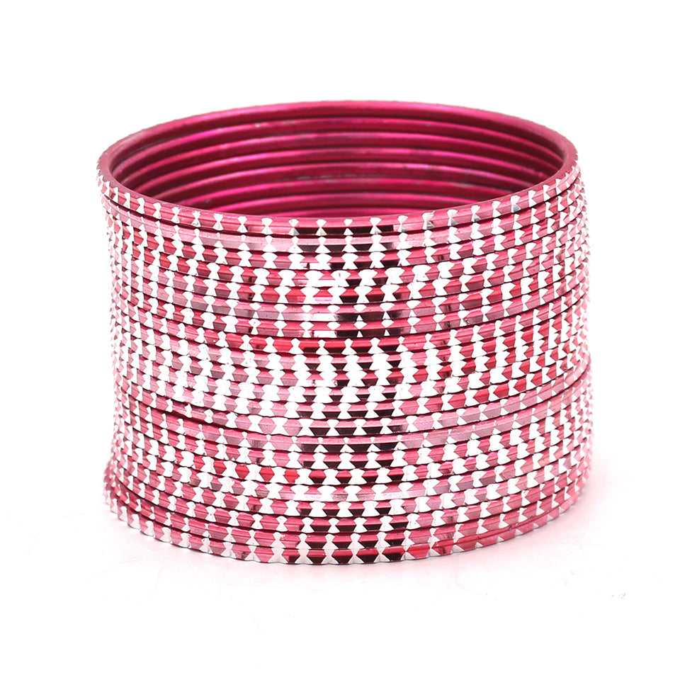 Set of 24 Shining Bangles with Cutting Design by Leshya