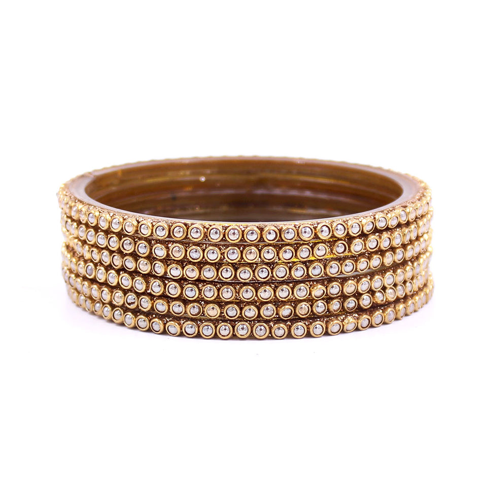 Set of 6 Glass Bangles with Running Golden Polki by Leshya