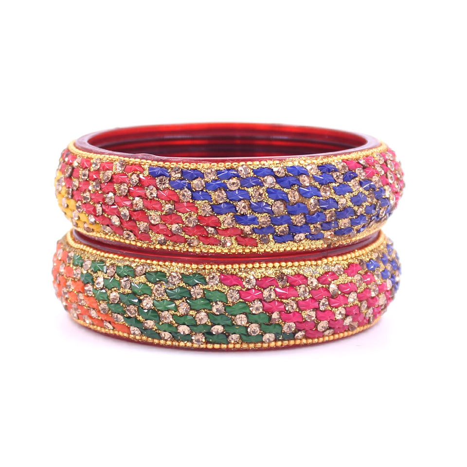 Pair of Glass Bangles with Running Stone Pattern by Leshya