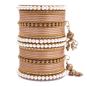 Traditional Solid Coloured Bangle Set with Pearl and Jhumki by Leshya