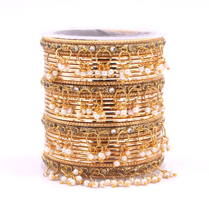 Shining Bangle Set with beaded Jhumki by Leshya