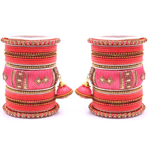 Bridal Set of 2 Silk Thread Bangle Set With Jhumki