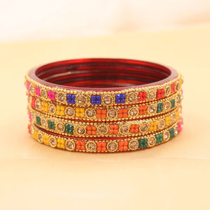 Set of 4 Beautiful Glass Bangles with Stone Pattern by Leshya